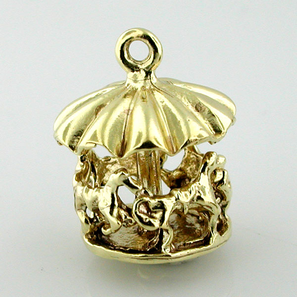 14K Gold Merry Go Round Carousel Charm Spins