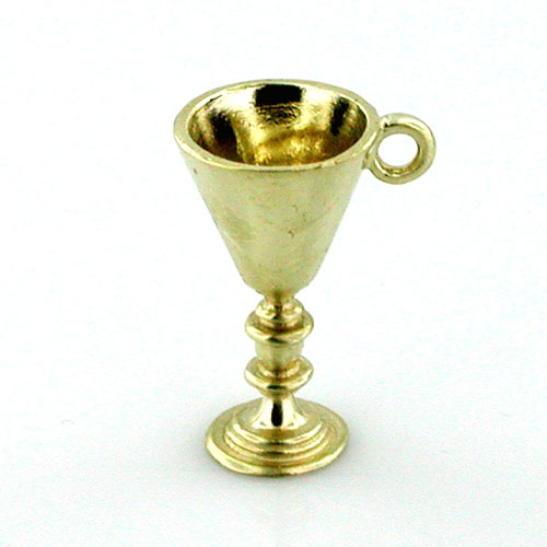 14K Gold Chalice Goblet  Cup Charm