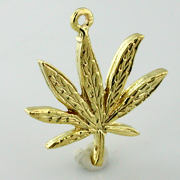 14K Gold Cannabis Leaf Charm