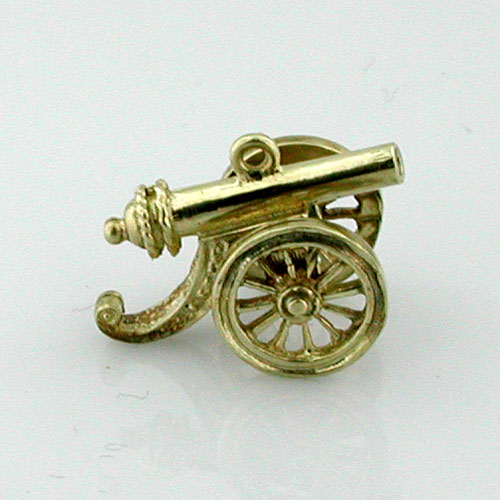 14K Gold Cast Iron Cannon 3D Charm