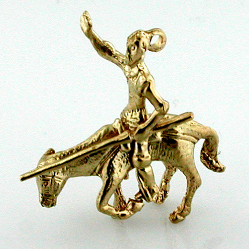 Don Quixote de La Mancha on his Horse 14k gold Charm