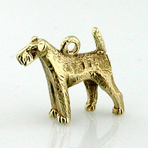 Wire Fox Terrier 3D Dog 14K Gold Charm