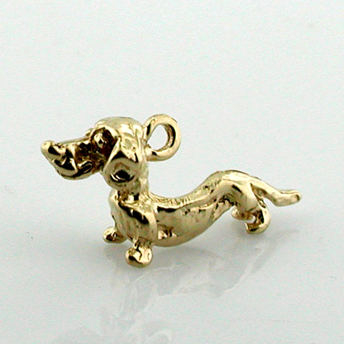 Dachshund Dog 14K Gold Charm