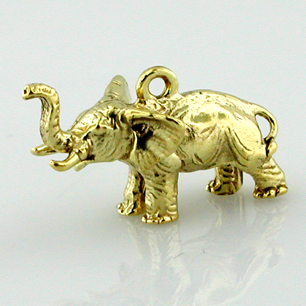 Elephant Lucky Trunk Up 14k Gold Charm