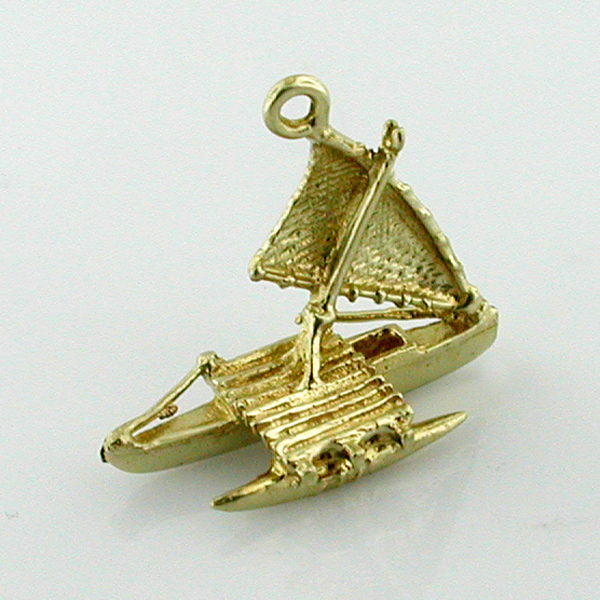 Hawaiian Outrigger Canoe Sail Boat 14k Gold Charm - Hawaii