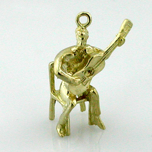 Serenading Guitar Player 14K Gold  3D Charm
