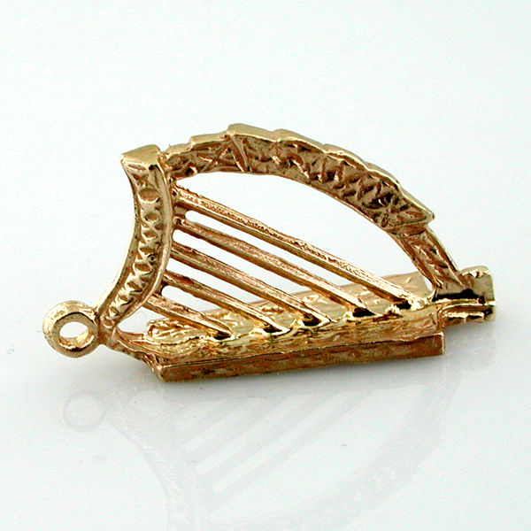 14k Gold Irish Celtic Lyre Harp 3D Charm