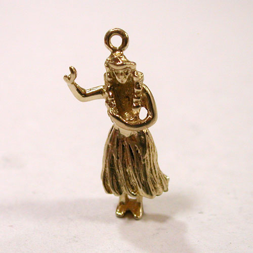 14K Gold Hula Girl Dancer  Hawaii 3D charm