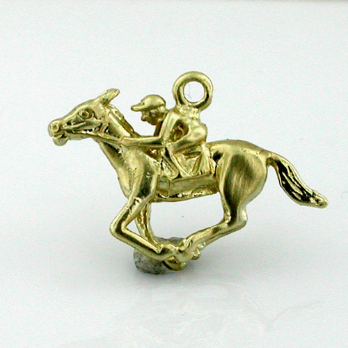 Race Horse Racing Jockey 14K Gold Charm