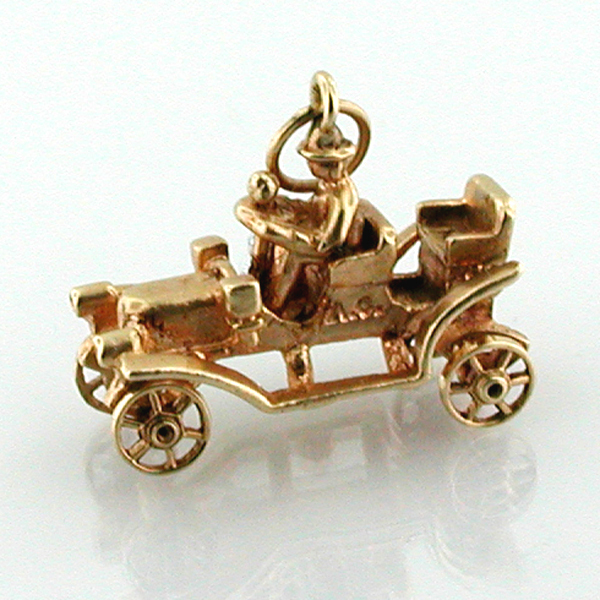 14k Gold Ford Model T Antique Car Vintage Movable Charm