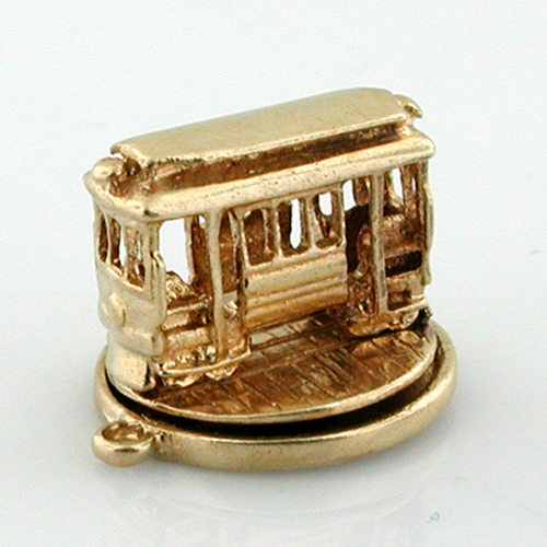 14K Gold Spinning Movable Cable Car Trolley Vintage Charm
