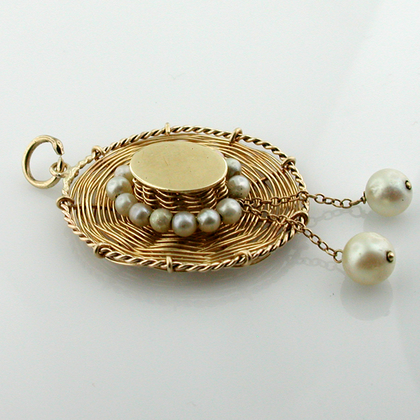 14K Gold Handmade Woven Straw Hat Cultured Pearl Vintage Charm