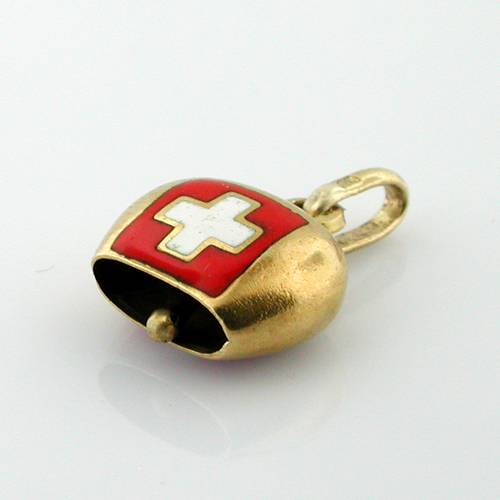 18K Gold Swiss Cow Bell Vintage Charm  - Rings