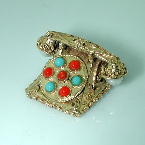 Etruscan Jeweled Rotary Phone 14K Gold Vintage 3D Charm