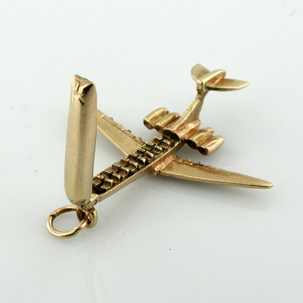 9k Gold Vickers VC10 British Jet Airliner Airplane 9ct Moveable Vintage Charm