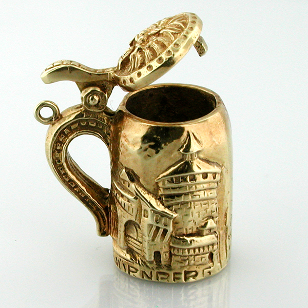 Heavy 14K Gold Nurnberg Nuremberg German Beer Stein 3D VintageCharm