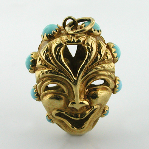 Vintage 18K Gold Comedy & Tragedy Mask Turquoise Accents Charm Pendant