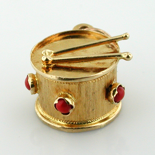 Jeweled 18K Gold Drum with Sticks Vintage Musical Charm