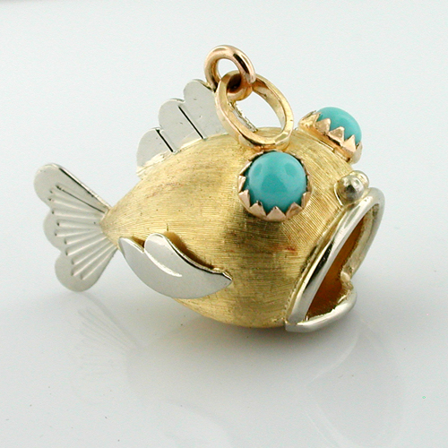 18K Gold Jeweled Turquoise Eyes Blow Fish 3D Vintage Charm Pendant