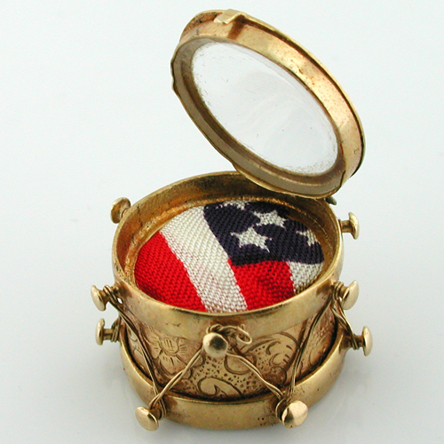 14k Gold Pearl Drum with American Flag Vintage Charm