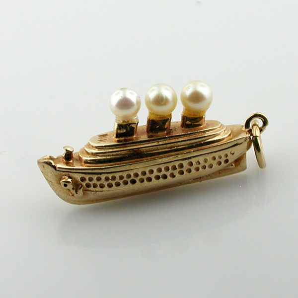 14k Gold Cruise Ship Boat Pearl Jeweled Vintage Charm