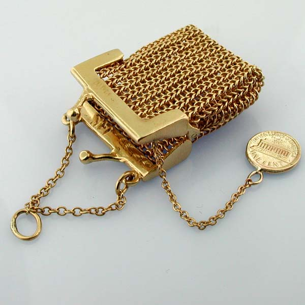 Mesh Coin Purse with Lucky Penny Pendant Vintage 14K Gold Charm