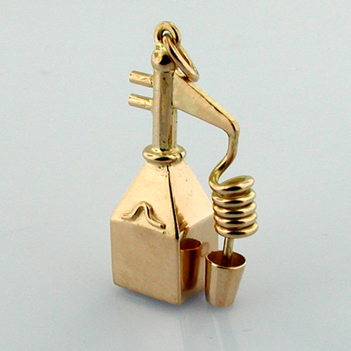 Moonshine Still Liquor Whiskey Scotch Vintage 18K Gold Charm