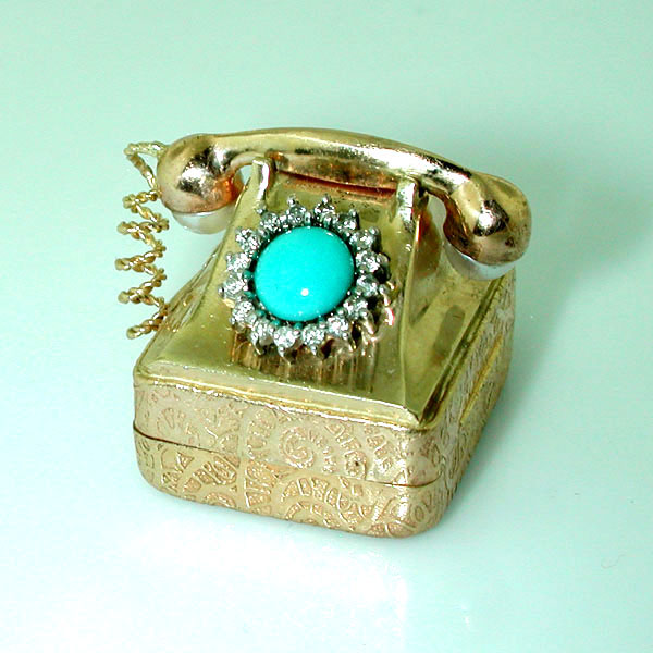 Vintage Rotary Dial Telephone Phone Music Box Diamonds Turquoise 14K Gold Charm