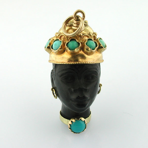 18K Gold Jeweled Turquoise Blackamoor 18kt Vintage Charm Pendant - Italy