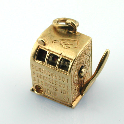 Mechanical Slot Machine 14K Gold Charm - One Armed Bandit