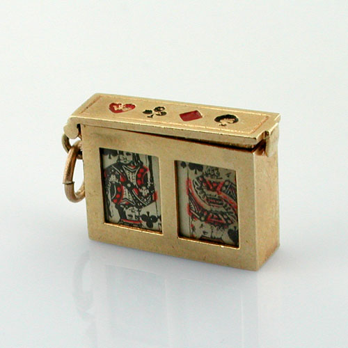 Deck of Playing Cards Movable Vintage 14k Gold Charm