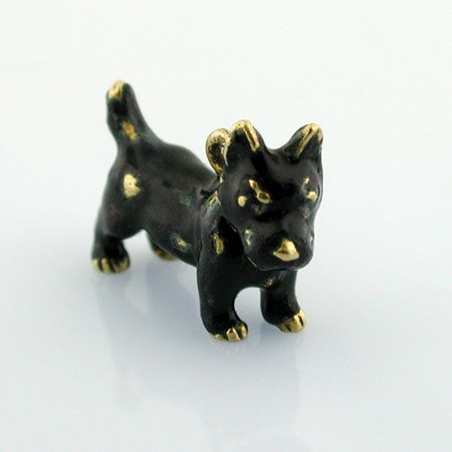 Extremely Rare Cairn Terrier Dog Black Enameled Vintage 18K Gold French Charm