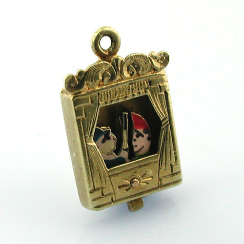 Rare Punch and Judy Movable Vintage 14K Gold Charm