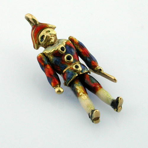 Extremely Rare Arlecchino Harlequin Enameled Vintage Movable 18K Gold Charm
