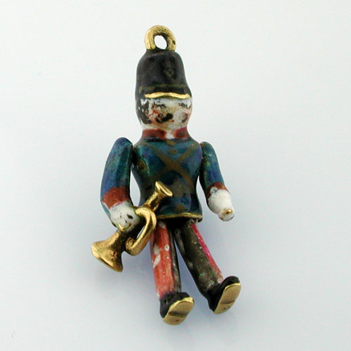 Rare Toy Soldier Playing Trumpet 18K Gold 