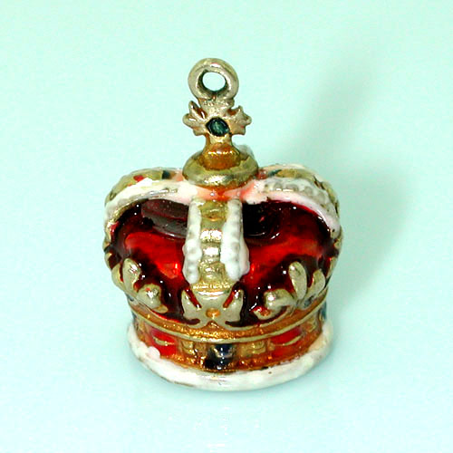 Enameled Royal Crown Vintage 14k Gold Charm