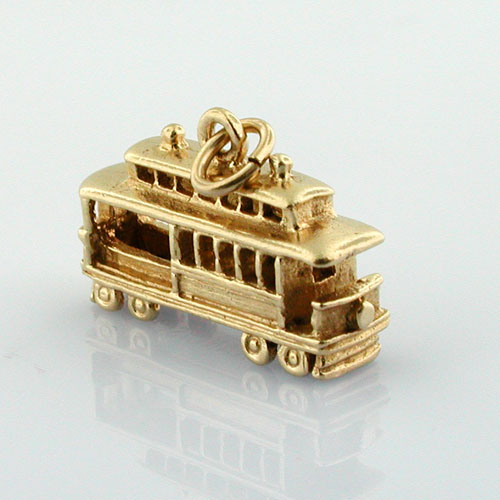 San Francisco Trolley Cable Car Vintage 14K Gold Charm