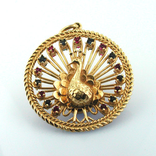 Large Jeweled Peacock Ruby Sapphire Vintage 14k Gold Charm Pendant