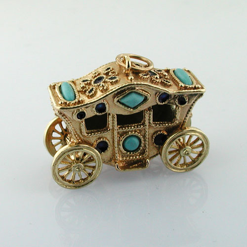 14K Gold Royal Carriage Coach Turquoise Movable Articulated Vintage Charm