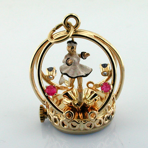 Vintage 14K Gold Dankner Living Charm  Mechanical Spinning Ice Skater Girl