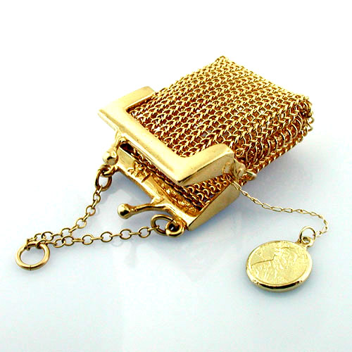 Mesh Coin Purse with Lucky Penny Vintage 14K Gold Charm Pendant