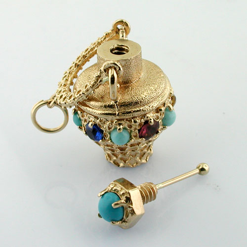 Vintage 14k Gold Perfume Scent Amphora Jeweled Bottle Charm Pendant