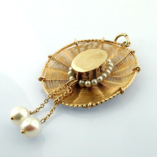 14k Gold Spanish Summer Straw Hat with Pearls Vintage Charm Pendant