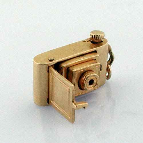 Mechanical Pop-Up Photo Camera Movable 14K Gold Vintage Charm