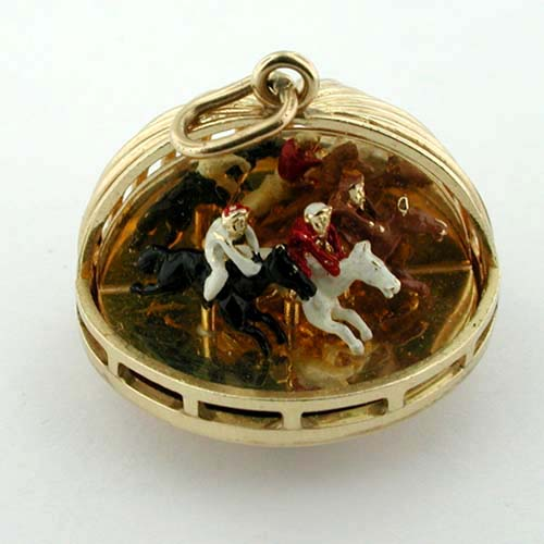 Rare Horse Racing Enameled Movable 14K Gold AC Vintage Charm Pendant