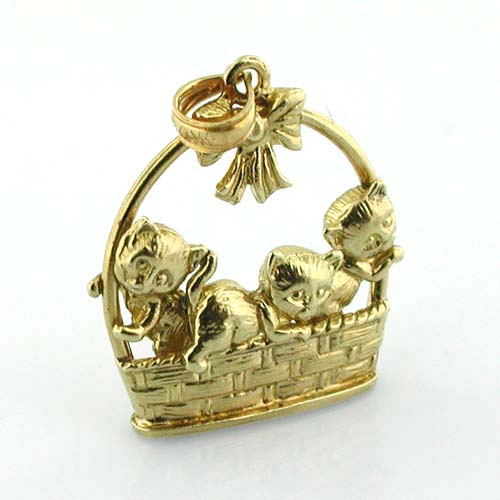 Kittens in a Basket 14K Gold Charm Pendant