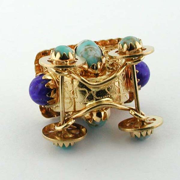 18K Gold Jeweled Royal Carriage Coach Vintage Movable Charm Pendant