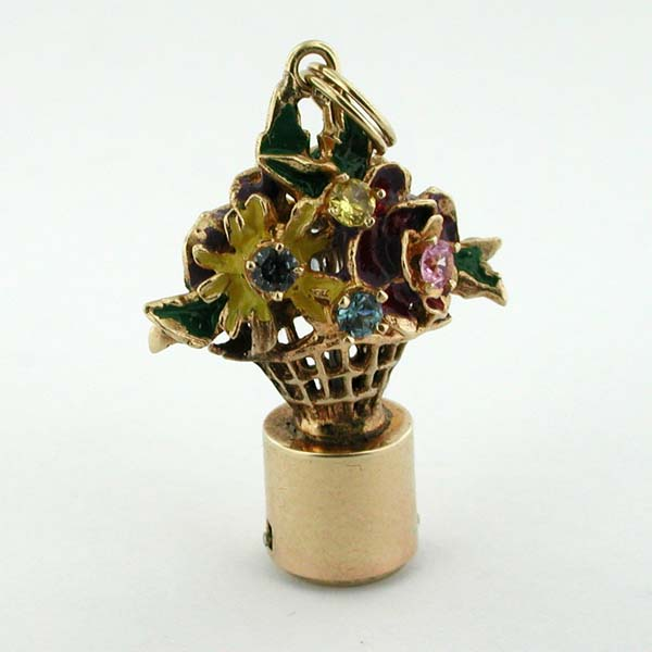 Rare 1960's Enameled Bouquet Flowers AC Vintage Charm - Lights Up Like Litacharm