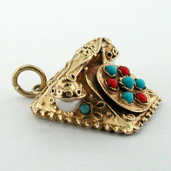 14K Gold Etruscan Jeweled Phone Movable Dial Vintage Charm