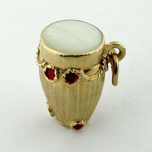 Enameled Conga Drum Mother of Pearl Bongo Vintage 14K Gold Charm
